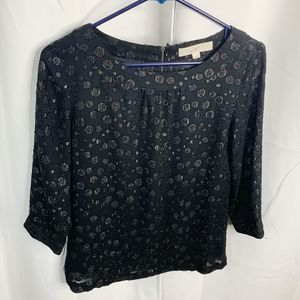 Loft xs black sparkle polka dot sheer blouse